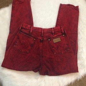 Vintage red acid wash wrangler jeans